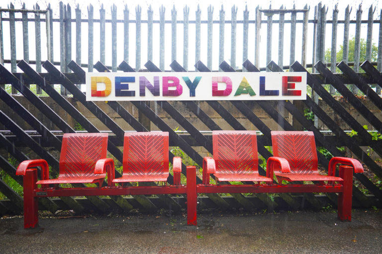 Denby Dale train station fabric sign