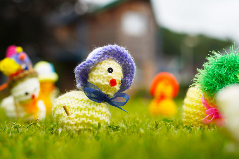 Knitted duck in grass