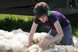 Woman and sheepskins