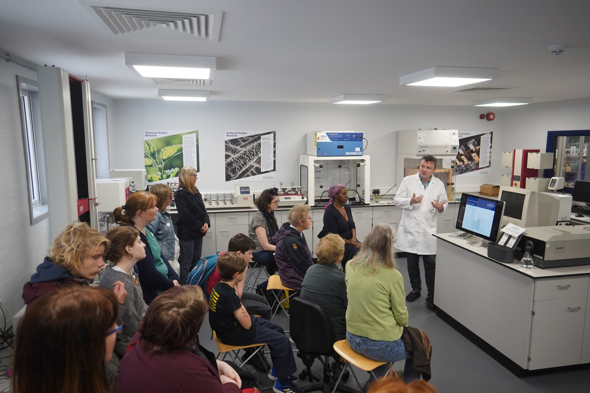 Andrew Hewitt talking to visitors to Technical Textiles lab