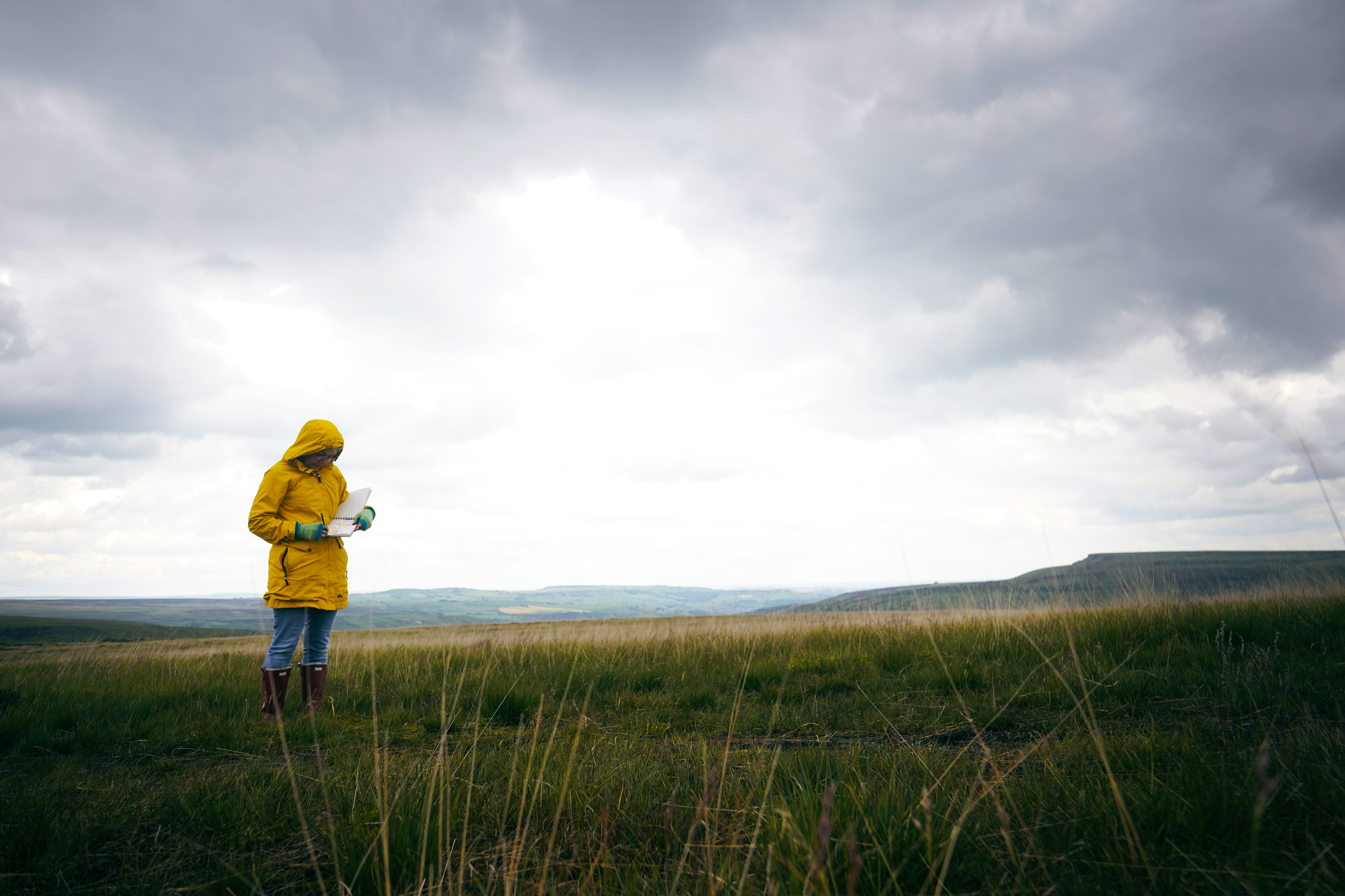 Person in yellow coat sketching on moors