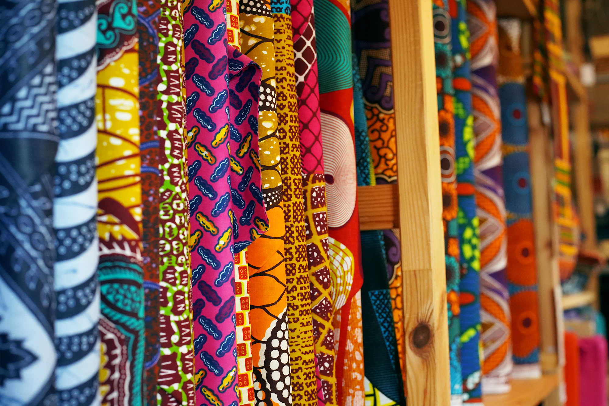 Stock in the African Fabric Shop