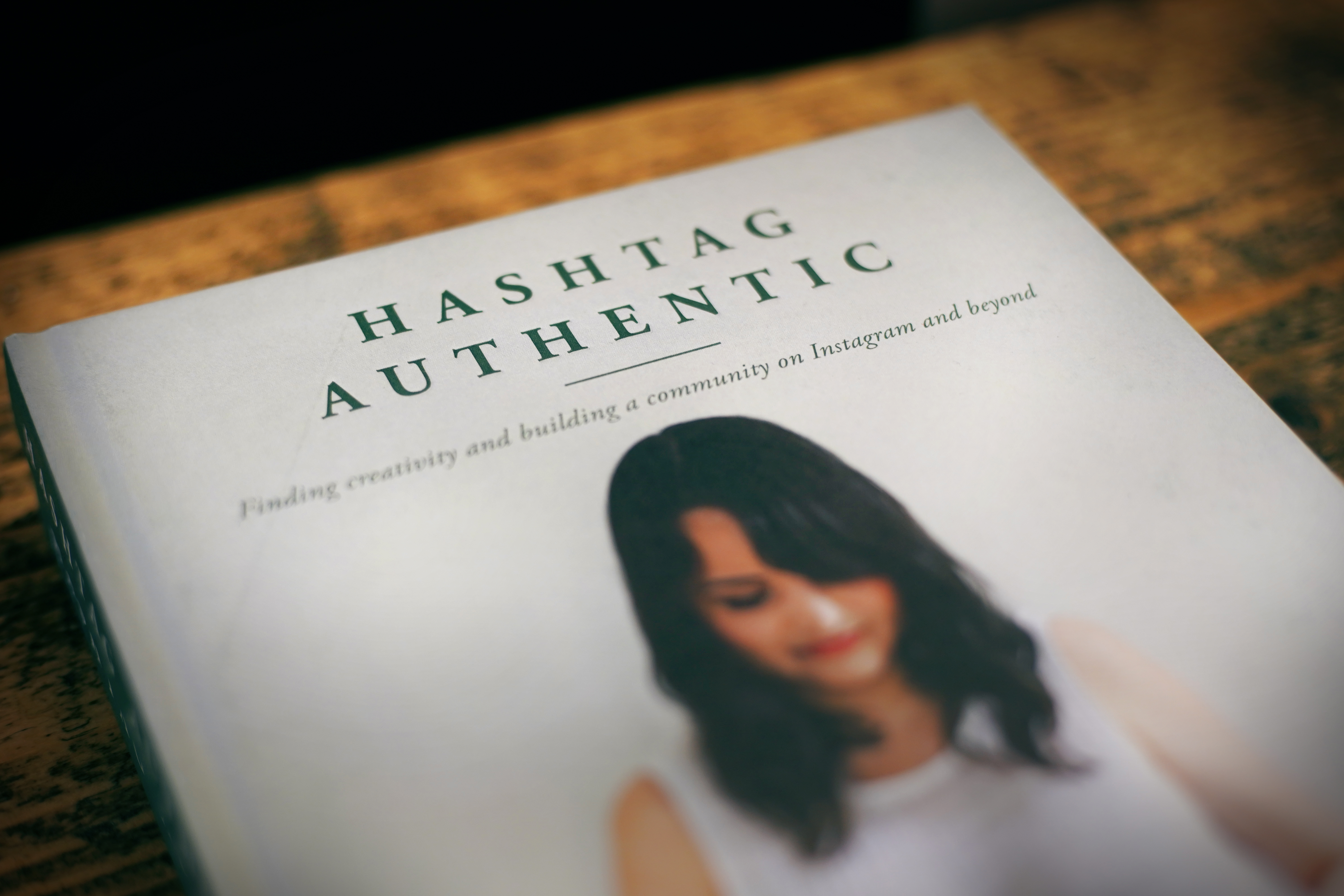 Close up of Hashtag Authentic book
