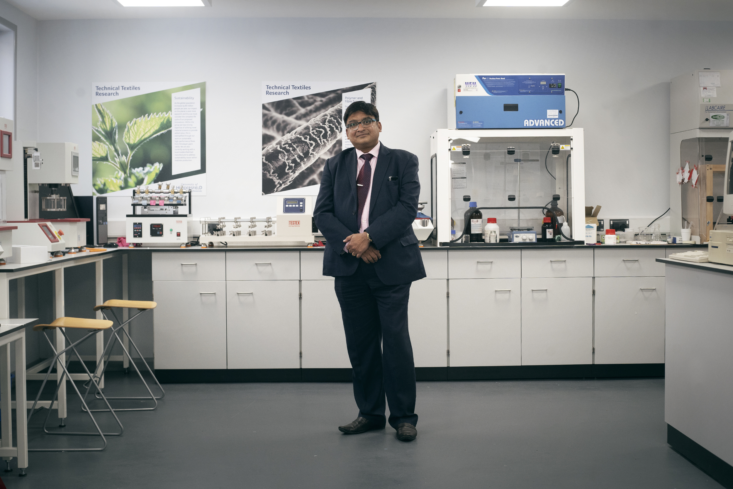 Parik Goswami in the technical textiles lab.