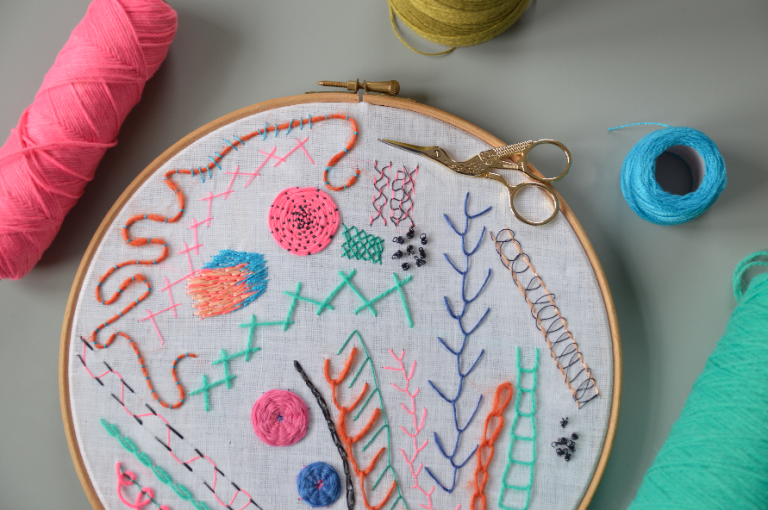 Embroidery stitches on a stretched hoop