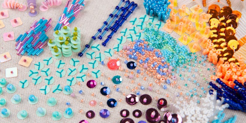 Closeup of beaded embroidery