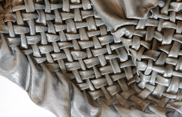 Close up of silver woven fabric