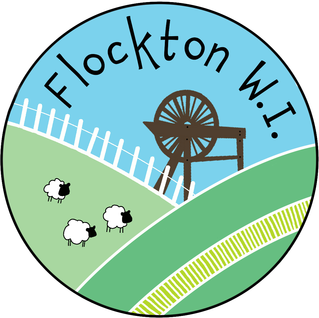 Flockton WI logo with mill wheel and sheep