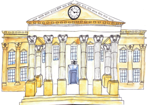 line drawing of Huddersfield train station with pillars at forefront