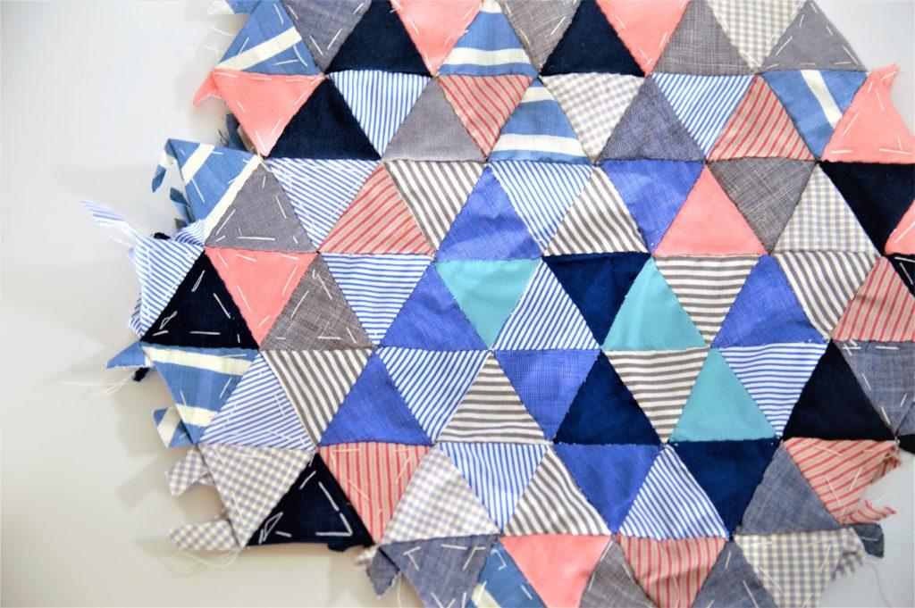 traingular patchwork pieces sewn together