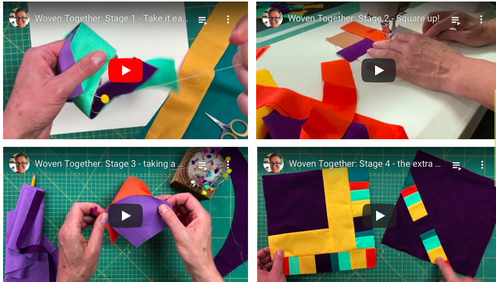 four video stills showing the stages necessary to make a quilt