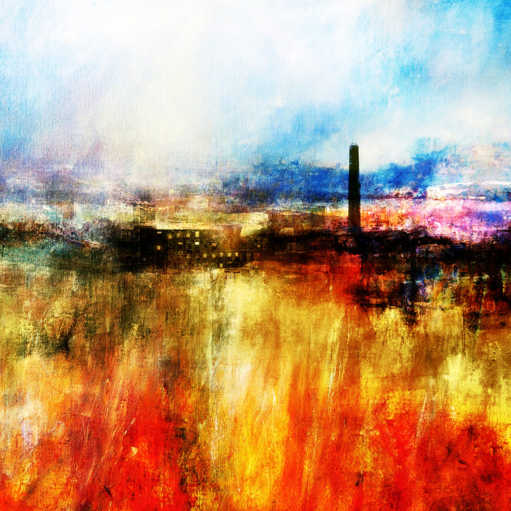 semi abstract painting in oils of moorland with mill chimney in distance
